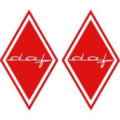 2x Aufkleber DAF Rot Diamant
