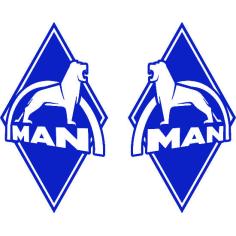 2x Sticker diamond MAN blue