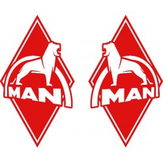 2x Sticker diamond MAN red