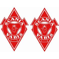 2x Sticker diamond SCANIA RED