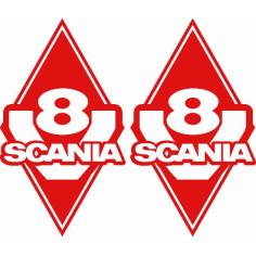 2x Sticker diamond SCANIA V8 RED