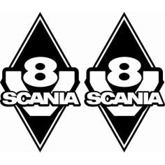 2x Aufkleber SCANIA V8 Schwarz Diamant