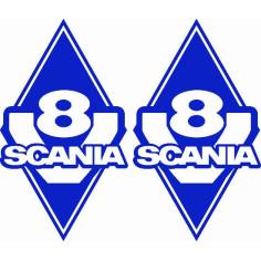 2x Sticker diamond SCANIA V8 BLUE