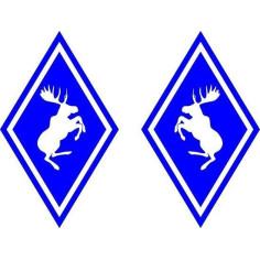 2x Aufkleber Elch Volvo Blau Diamant