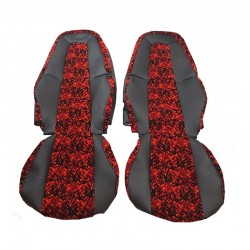 VOLVO FH4 SEAT COVERS RED DANISH PLUSH