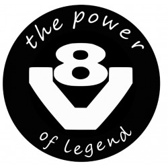 V8 THE POWER OF LEGEND AUFKLEBER 10 CM