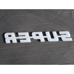S-U-P-E-R plastic emblem SUPER letters Scania