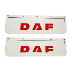 2x Mud flap DAF white red 3D 60x18