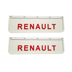 2x Mud flap RENAULT white red 3D 60x18