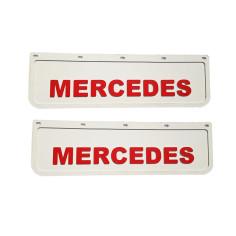2x Mud flap MERCEDES white red 3D 60x18