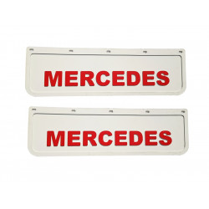 2x Schmutzfänger MERCEDES 3D Weiss - Rot 60x18