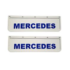 2x Schmutzfänger MERCEDES 3D Weiss - Blau 60x18