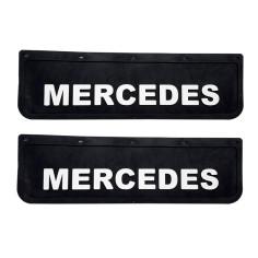 2x Schmutzfänger MERCEDES 3D Schwarz - Weiss 60x18