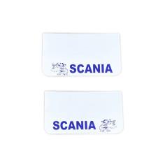 2x Mud flap SCANIA white blue 64x36