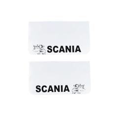 2x Mud flap SCANIA white black 64x36