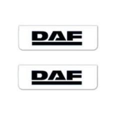 2x Schmutzfänger DAF Weiss - Schwarz 60x18