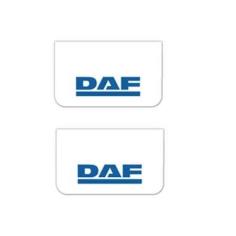 2x Mud flap DAF white blue 64x36