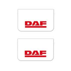 2x Mud flap DAF white red 64x36